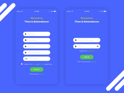 Woowtime sign up and sign in UI Design