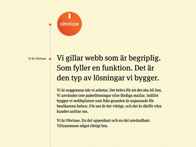 Obviuse site timeline meta seriff stacking menu responsive