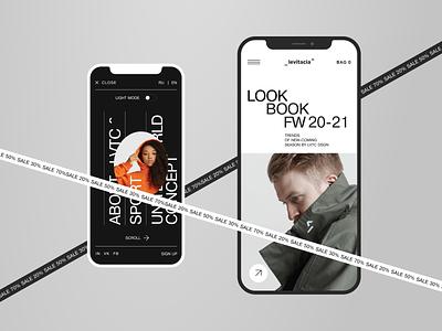 Levitacia^ Store ecommerce shop mobile ui swiss website minimal typography concept ui