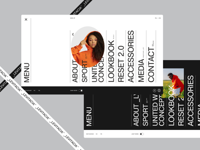 Menu-pages in 2 versions desktop promo website minimal typography ux ui