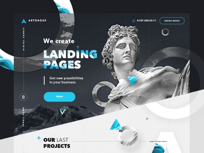 🔥Creative Landing page parallax desktop layout website ux ui landing page design creative agency illustration 3d
