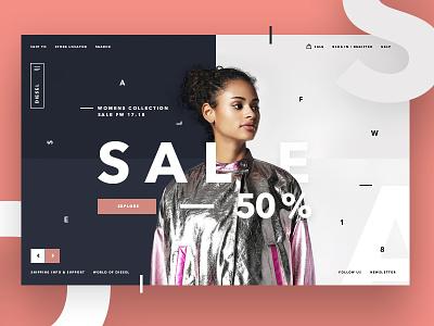 💥✌️Sale page DSL concept store website ux ui layout promo minimal clear desktop design concept typography
