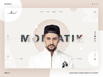 Monatik Singer website concept website ux ui typography promo minimal layout desktop design concept clear