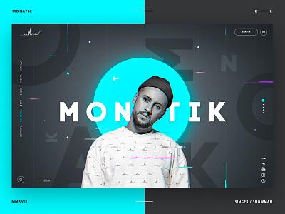 Singer's website Monatik for redlab.bz  agency website ux ui typography promo minimal layout desktop design concept clear