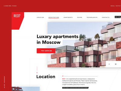 Red7 Apartment desktop product landing page concept ui clear typography design minimal layout real estate