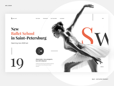 Ballet school clear promo ux minimal website typography layout concept ui desktop