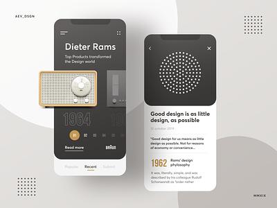App UI tribute to Dieter Rams webapp design dailyui concepts app dieterrams rams minimal layout concept ui
