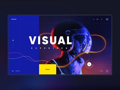 MexArt landing page desktop ux layout minimal typography neon colours neon lights concept ui
