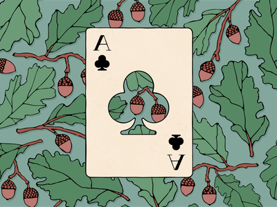 Playing Card / Ace of clubs clubs oak plant vector playing cards ace design illustration