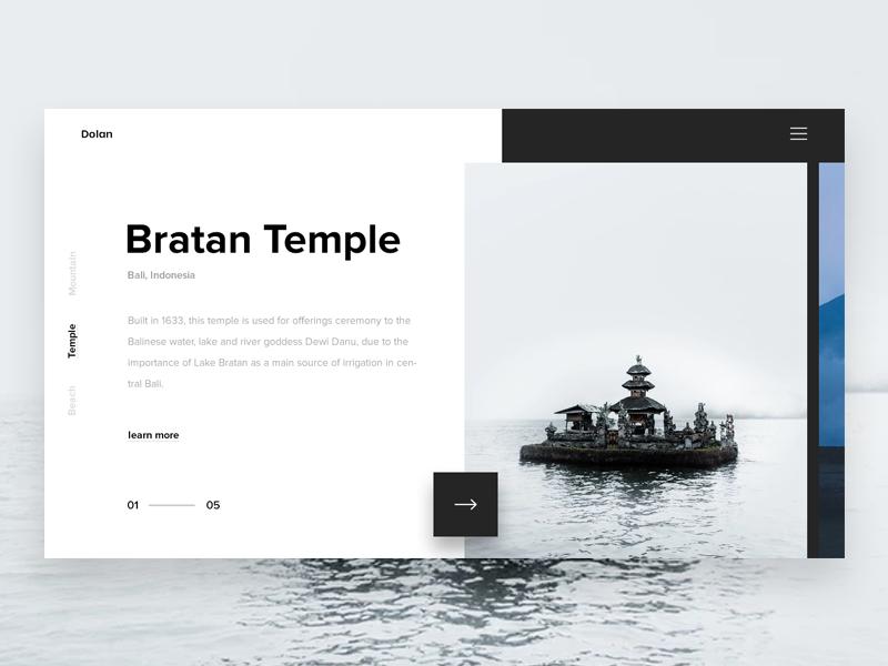 Dolan Travel Landing Page webdesign explore landing minimal travel web place white monochrome ui ux nature