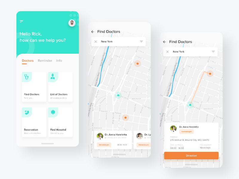 Doctors Map Exploration sleek android ux design ux ui design ui map mobile app mobile iphone x iphone ios exploration design clean medical