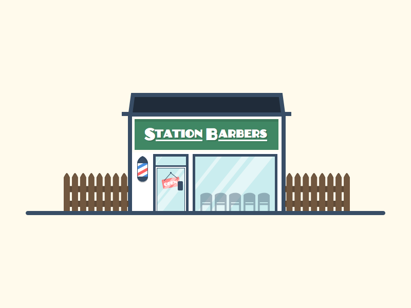 Station Barbers Illustration