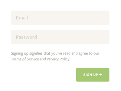 Signup form freight sans small caps