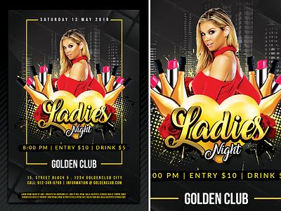 Ladies Night good gold fun flyer flats drink dj disco dance club bottles bar