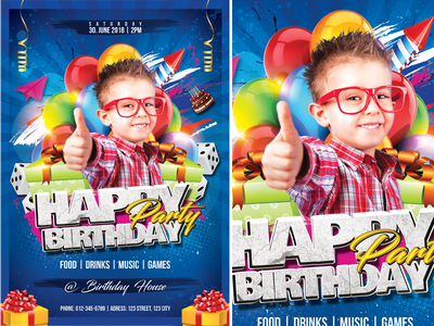 Happy Birthday Party flyer fest event colorful children child cake blue birthday party birthday balloon advertisement