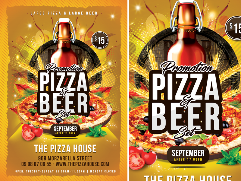 Pizza   Beer Set Flyer modern menu meal lunch kitchen hot gourmet gastronomy fresh food flyer dinner cuisine cooking cook classic chef card business beer