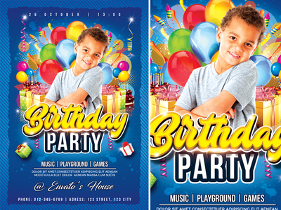 Birthday Party playground party music kids party kids happy day games fun flyer fest event colorful children child cake blue birthday party birthday balloon advertisement