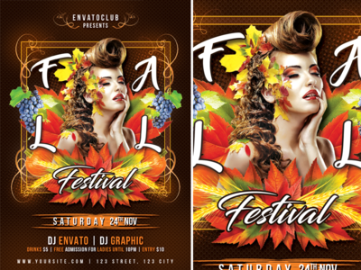 Fall Festival modern lights light leaves leaf indian summer fall party fall flyer fall festival fall event flyer event creative concert colors colorful club autumn party autumn flyer autumn