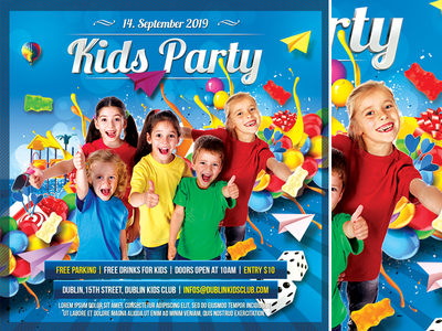 Kids Party kids party kid happy day games game fun flyer festival fest event colorful children child cake blue birthday party birthday balloon advertisement advert