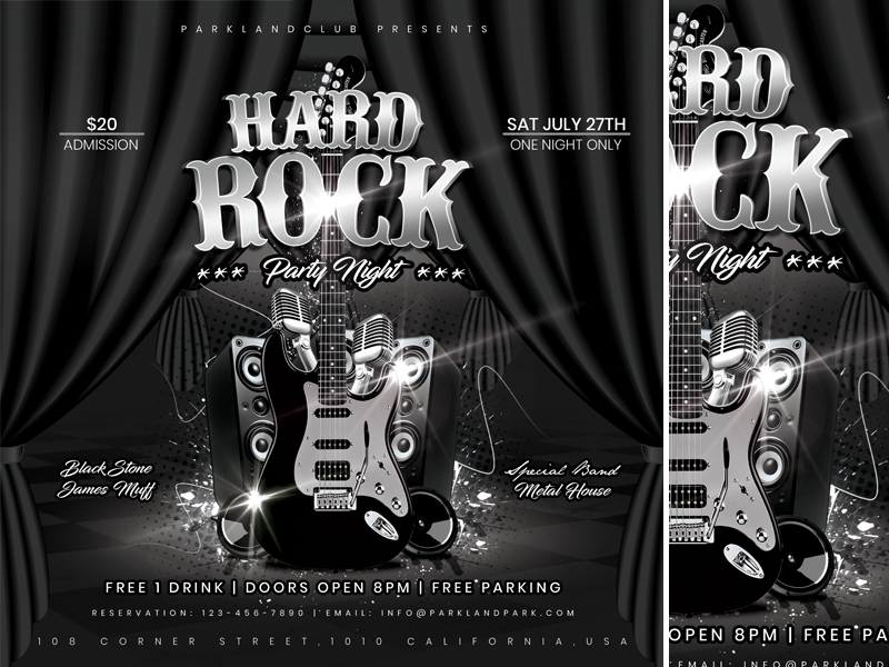 Hard Rock Party Night performance people party music modern live hard rock hard guitar fun flyer festival drink disco day dark club bar bands band