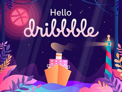 Hello, Dribbble! web icon ui design dribbbleinvitation invitation plant mercusuar dribbble app night ship illustration art hellodribbble hello firstshot debutshot debut