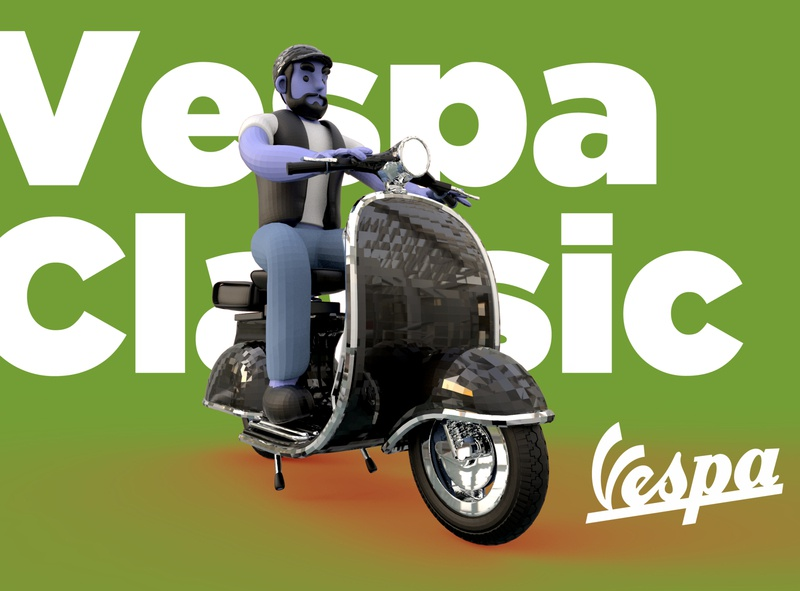 vespa character illustration lettering c4d cartoon branding graphic advertising design 3d