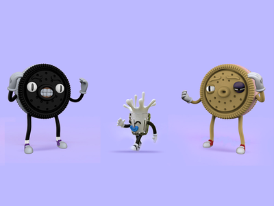 Oreo Fighters animation ux icon cartoon cool cgi c4d cinema4d illustration branding character vector ui logo stationery 4d graphic advertising 3d design
