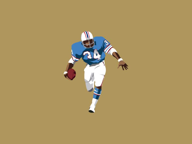 Earl campbell illustration oilers art success new touchdown artist helmet houston nfl100 nfl design illustrator vector