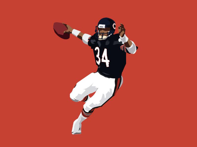 Walter Payton bears chicago nfl100 art success game illustration nfl design illustrator vector