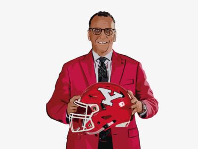 Coach Doug Philips youngstown helmet portrait design illustrator vector