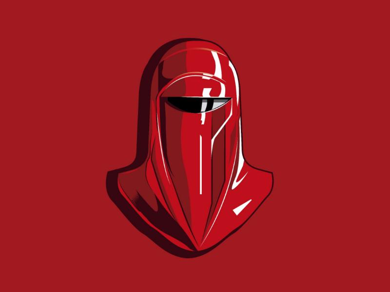 Red guard starwars red helmet design illustrator vector