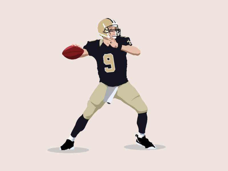 Drew brees saints of new orleans quarterback illustration nfl design illustrator vector
