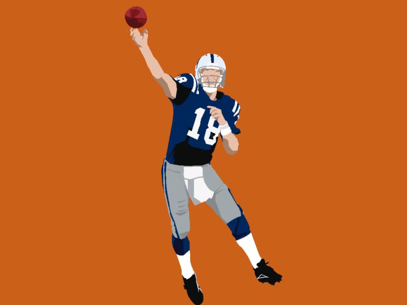 Peyton Manning quarterback illustration pass nfl helmet touchdown artist design illustrator vector
