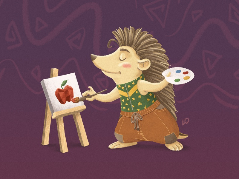 Cute Little Hedgehog / Teremok fruit apple canvas hedgehog art painter teremok photobook kindergarten kids illustration kids illustrator illustrations deadstiks cubs characters animals