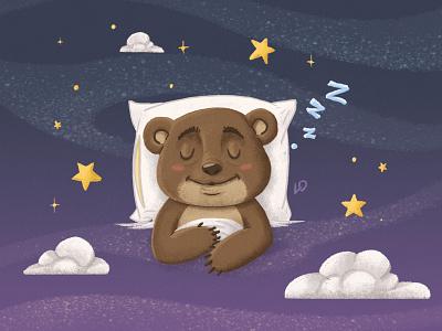 Sleeping Little Bear / Teremok sky star clouds pillows sleep bear night starfield teremok photobook kindergarten kids illustration kids illustrator illustrations deadstiks cubs characters animals