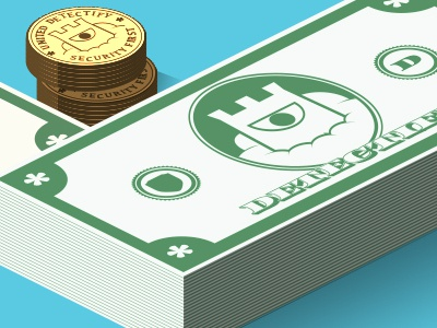 Detectify Bills bills money detectify security isometric coins gold green web