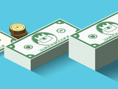Detectify Bills Work In progress isometric money bills green dollars security detectify logo treatment coins value perspective