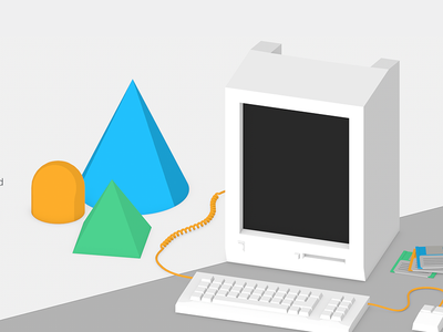 Back to basics low poly old school startup security detectify web computer illustration 3d
