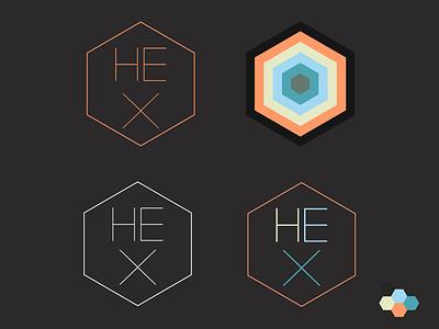 Hex Colored hexagone hexagonal hex logotype type thin hairline logo wip node knockout node.js