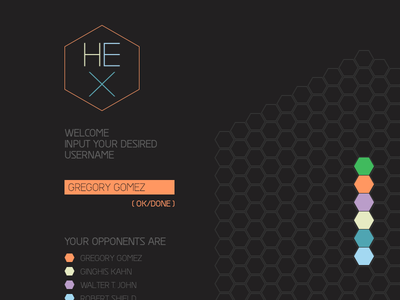 Hex Node Knockout Game Page webdesign web game gameplay colours color node.js knockout node wip logo hairline thin type logotype hex hexagonal hexagone identity