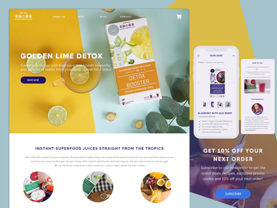 Web and mobile design for Doki Doki Superfood Juice juice design health