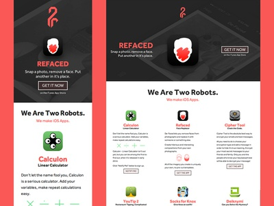 Two Robots Website web pink apps one-page responsive rwd