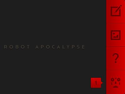 Robot Apocalypse Home Screen UI dark iphone ios ui robot buttons notifications red