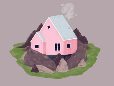 Greenlandic House / Pink pink greenland house digital illustration