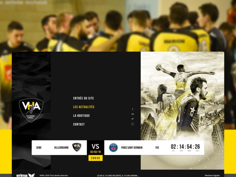 Rebrand VHA website webdesign logo identity rebrand homepage web flat branding sketch design villeurbanne lyon gones black handball ux ui sport design sport