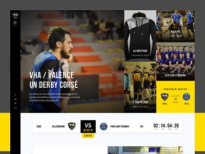 Rebrand Vha homepage sport design sport sketch lyon handball gones black product character logo identity webdesign rebrand homepage web ux ui flat branding design