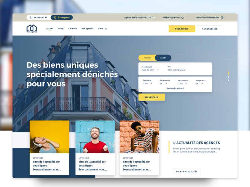 Rebrand Estate homepage front-end agency estate product identity homepage ux web flat ui design branding