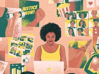 BLAC Detroit woman digital magazine cover drawing editorial illustration cover illustration