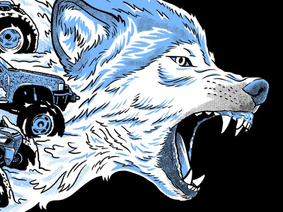 Wolf Dog Race race wolf tshirt art screenprint illustration