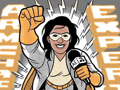 Armchair Expert drawing podcast armchair expert monica monsoon superhero cartoon illustration shirt design tshirt art